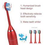 [2018 nouvelle version] Brosse à dents sonique électrique pour les adultes avec la base de charge et 5 modes de brossage et 8 têtes de remplacement imperméables IPX7 blanchissant la brosse à dents rechargeable électrique par xuehaostore (rouge) de la marq image 3 produit