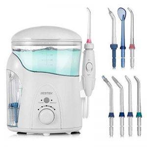 BESTEK Hydropulseur Jet Dentaire Oral Irrigateur Dentaire avec 2 Modes de Nettoyage, 7 Embouts, réglage de la Pression, 600 ML, Blanc de la marque BESTEK image 0 produit