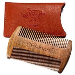 BFWood Peigne moustache de poche – Peigne en bois de santal avec étui en cuir de la marque image 0 produit