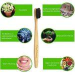 BooBrush Brosse à dents en bambou avec poils au charbon actif | Manche 100% naturel biodégradable | Écologique et végane | Poils en nylon sans BPA d'une dureté moyenne |Pas d'emballage plastique, aucun déchet | Soin des dents pour adultes et enfants | Lo image 2 produit