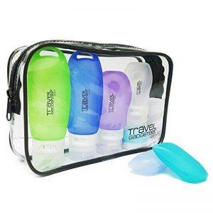 Bouteilles d'accessoires de voyage (4) Crème (1) Boîte à brosses à dents (2) Sac | Airline approuvé de la marque Travel Gadgeteer image 0 produit