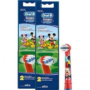 Braun Oral-B Brossettes Stages Power Kids Lot de 4têtes de brosse à dent électrique pour enfant Mickey Mouse 2K Mickey Mouse de la marque Oral-B image 0 produit