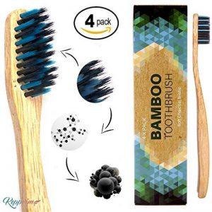 Brosse à dent en bambou végétalien bio - Lot de 4 medium - poils souples infusés au charbon végétal - sans BPA - biologique naturelle - brosse de dents bois - biodegraable de la marque Keppvim image 0 produit