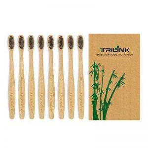Brosse à dents au bambou charbon de bois TriLink - 100% naturelle, biologique, biodégradable et écologique avec poils doux extra-doux sans BPA pour adulte - Lot de 8 de la marque TriLink image 0 produit