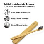Brosse à dents au bambou charbon de bois TriLink - 100% naturelle, biologique, biodégradable et écologique avec poils doux extra-doux sans BPA pour adulte - Lot de 8 de la marque TriLink image 2 produit
