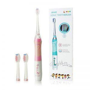 Brosse à dents électrique pour enfants, brosses à dents soniques pour enfants Seago Brosses à dents soniques IPX7 Imperméable à l'eau avec minuterie intelligente amusement conduit lumière,3 têtes de brosse pour les filles de 3 ans et plus (SG-977,Rose-ten image 0 produit