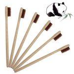 Brosse à dents Progoco en bambou écologique et poils doux en charbon actif, couleur marron de la marque Sunlar image 4 produit