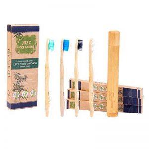 Brosses à dents en bambou et biodégradable Brosse à dents et support de voyage/Lot. Poils doux sans BPA pour les gencives sensibles. 1 Brosse à dents à charbon de bois + 3 Naturel sans BPA brosses à dents +/support de voyage portables de la marque DUAMY image 0 produit