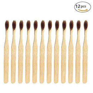 Brosses à dents en bambou naturel écologique avec poils souples infusés au charbon de bambou de la marque G-smart image 0 produit