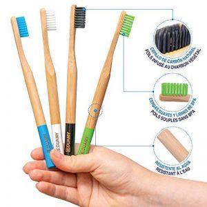 Brosses à dents en bambou, paquet de brosses écologiques, 100% organiques, biodégradable, naturelles et veganos. 4 pièces avec poils de charbon naturelles, végétales et doux. Libre de BPA pour la meilleure nettoyage dents. … de la marque DUAMY image 0 produit