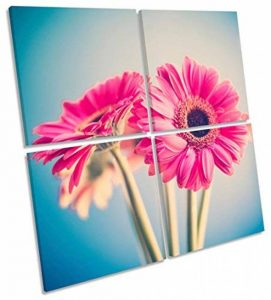 Canvas Geeks Rose Floral Flowers Multi sur Toile Décoration Murale carré Photo encadrée, Rose, 80cm Wide x 80cm High de la marque Canvas-Geeks image 0 produit