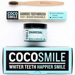 CocoSmile blanchiment dentaire , charbon dent blanche | charbon actif avec bambou Brosse à Dents | blanchiment des dents (90g) de la marque Coco Smile image 0 produit