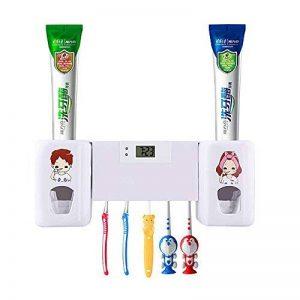 Distributeur automatique de dentifrice avec support pour 5 brosses à dents pour adultes et enfants (blanc) de la marque SUNNZO image 0 produit