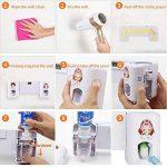 Distributeur automatique de dentifrice avec support pour 5 brosses à dents pour adultes et enfants (blanc) de la marque SUNNZO image 2 produit