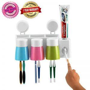 Distributeur de dentifricePorte-brosse à dents Anti-poussière avec 3 tasses Stockage murale de salle de bain pour brosse à dents Économise de l'espace de la marque SANN image 0 produit