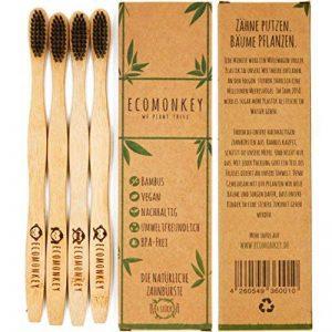 ECOMONKEY® ♻ les brosses à dents Bambou biodégradable dans le lot de 4 + poils souples infusés au charbon + 100% végétalien + 100% Sans BPA de la marque ECOMONKEY image 0 produit