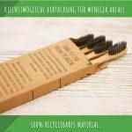 ECOMONKEY® ♻ les brosses à dents Bambou biodégradable dans le lot de 4 + poils souples infusés au charbon + 100% végétalien + 100% Sans BPA de la marque ECOMONKEY image 4 produit