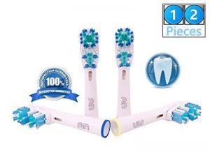 FLM Dual Clean EB417-4 - Têtes de Remplacement pour Brosses à Dents Electriques Compatible Avec Braun Oral B, Pack de 12 Brossettes de la marque fuluomei image 0 produit