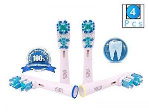 FLM Dual Clean EB417-4 - Têtes de Remplacement pour Brosses à Dents Electriques Compatible Avec Braun Oral B, Pack de 4 Brossettes de la marque fuluomei image 0 produit