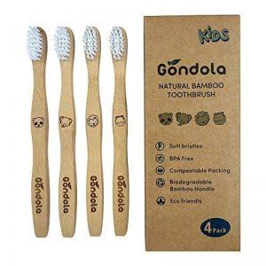 gondole en Bambou Naturel Brosse à Dents Lot DE 4Enfants Taille brosses à Dents écologique Biodégradable sans BPA Poils de la marque Gondola image 0 produit