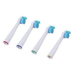 LJX 4 pcs Tête de Remplacement de Brosse à Dents électrique, Nettoyage Complet des Dents, Adapté Pour Philips HX1610, HX1620, HX1630, HX2012, Etc, Longueur: 8 Cm, Blanc + Bleu de la marque LJX image 0 produit