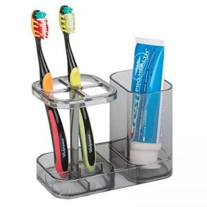 mDesign Porte brosse à dents – Support brosse à dents jusqu'à 4 brosses à dents – Range brosse à dents avec compartiment pour le dentifrice – Couleur : noir/transparent de la marque MetroDecor image 0 produit