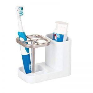 mDesign porte brosse à dent – meuble de rangement pour brosses à dents & pâte dentifrice en plastique – accessoires de salle de bain pratique – blanc de la marque MetroDecor image 0 produit