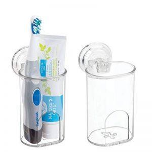mDesign porte brosse à dent à ventouse pour la salle de bain (lot de 2) – verre à dent et porte rasoir en plastique – pour brosse à dent manuelle & électrique, rasoir, dentifrice – transparent de la marque MetroDecor image 0 produit
