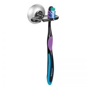 mDesign porte brosse à dent à ventouse – support brosse à dent pratique – porte brosse à dent mural. couleur: Gris/argent de la marque MetroDecor image 0 produit