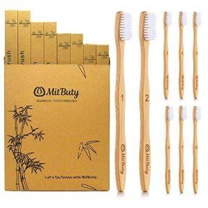 MitButy Brosse à dents en bambou [Pack de 8] Poils souples et brosses à dents en bois numérotées individuellement | 100% naturelles, végétaliennes, biodégradables, recyclables et sans plastique de la marque MitButy image 0 produit