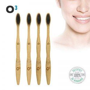 O³ Brosse a dent Bambou - Poils Souple - Emballage Ecologique - 4 Brosses à dents Sans BPA - 100% Biodégradable de la marque O³ image 0 produit