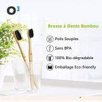 O³ Brosse a dent Bambou - Poils Souple - Emballage Ecologique - 4 Brosses à dents Sans BPA - 100% Biodégradable de la marque O³ image 1 produit