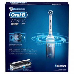 Oral-B Genius 9000N CrossAction Brosse à Dents Électrique Rechargeable, 1 Manche Connecté Blanc, 6 Modes, 4 Brossettes, 1 Étui de Voyage USB de la marque Oral-B image 0 produit