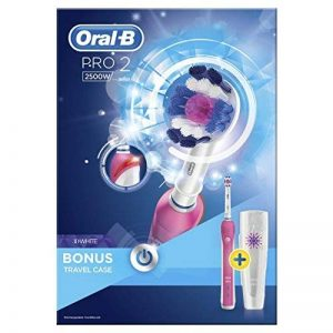 Oral-B Pro 2500 3D White Electric Rechargeable Toothbrush with Travel Case Powered by Braun - Pink by Oral-B de la marque Oral-B image 0 produit