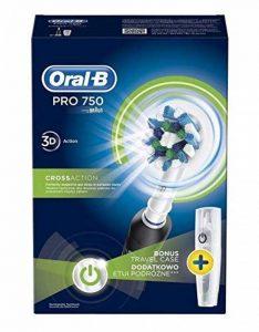 Oral-B Pro 750Noir oscillation Brosse à dents électrique brosse à dents Noir, Blanc–(Batterie, intégré, Cross Action) de la marque Oral-B image 0 produit