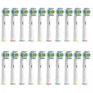 Pack de 20 (5 x 4) têtes de remplacement pour brosse à dents électrique Oral B 3D White EB18, 4 pièces Kriktech® Compatible avec la brosse Vitality Precision Clean, vitality sensitive clean, Vitality Pro White, Vitality Dual Clean, Vitality White + Clean, image 0 produit