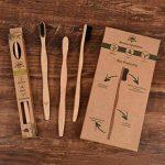 Pack de 4 brosses à dents en bambou biodégradable, poils souples infusés au charbon végétal, Ergonomique et Vegan. de la marque image 1 produit