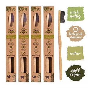 Pack de 4 brosses à dents en bambou biodégradable, poils souples infusés au charbon végétal, Ergonomique et Vegan. de la marque OUTDOOR FREAKZ image 0 produit
