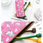 Porte-stylo sac de maquillage organisateur toile pochette à crayon fermeture éclair papeterie sac à main portefeuille mignon sacs cosmétiques portables voyage petit boîtier de rangement brosse 4PCS (Licorne) de la marque Hizoop image 2 produit