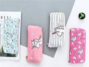 Porte-stylo sac de maquillage organisateur toile pochette à crayon fermeture éclair papeterie sac à main portefeuille mignon sacs cosmétiques portables voyage petit boîtier de rangement brosse 4PCS (Licorne) de la marque Hizoop image 0 produit