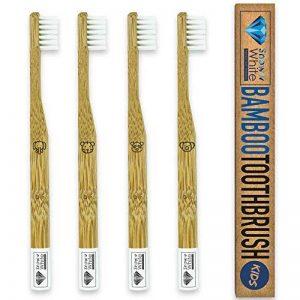 Premium Bambou Brosse à dents Kids Lot de 4–Mélange de poils doux–100% écologique–végétalien–en bois de bambou–Sans–respectueuse de l'environnement en plastique Brosse à dents manuelle de la marque SNOWW WHITE Premium Teeth Whitening image 0 produit