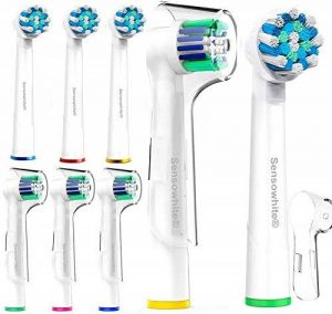 Sensowhite® Oral B Brosse à dents électrique Têtes de rechange compatible (8)/Lot de différents Compatible avec Oral-B CrossAction et Precision Clean de la marque compatibles avec ora-b image 0 produit