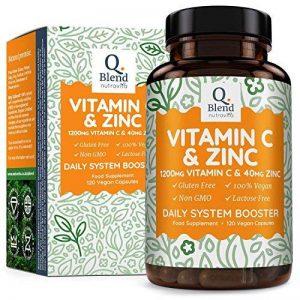 Vitamine C 1200mg - Zinc 40mg, 120 Capsules Végétariennes Haute Puissance – Supplément Alimentaire Pour Stimuler Le Système Immunitaire - Anti Fatigue Energisant - 2 Capsules par Jour – Par Nutravita de la marque Nutravita image 0 produit